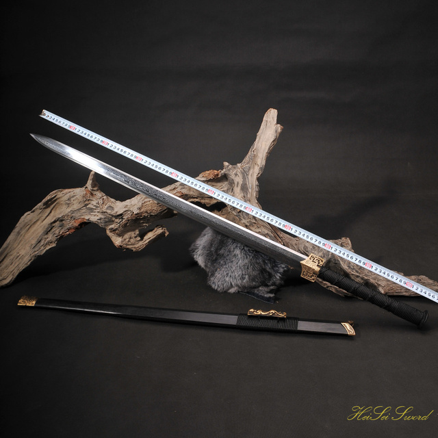 hand forged chinese han folded steel double dragon sword sharp edge