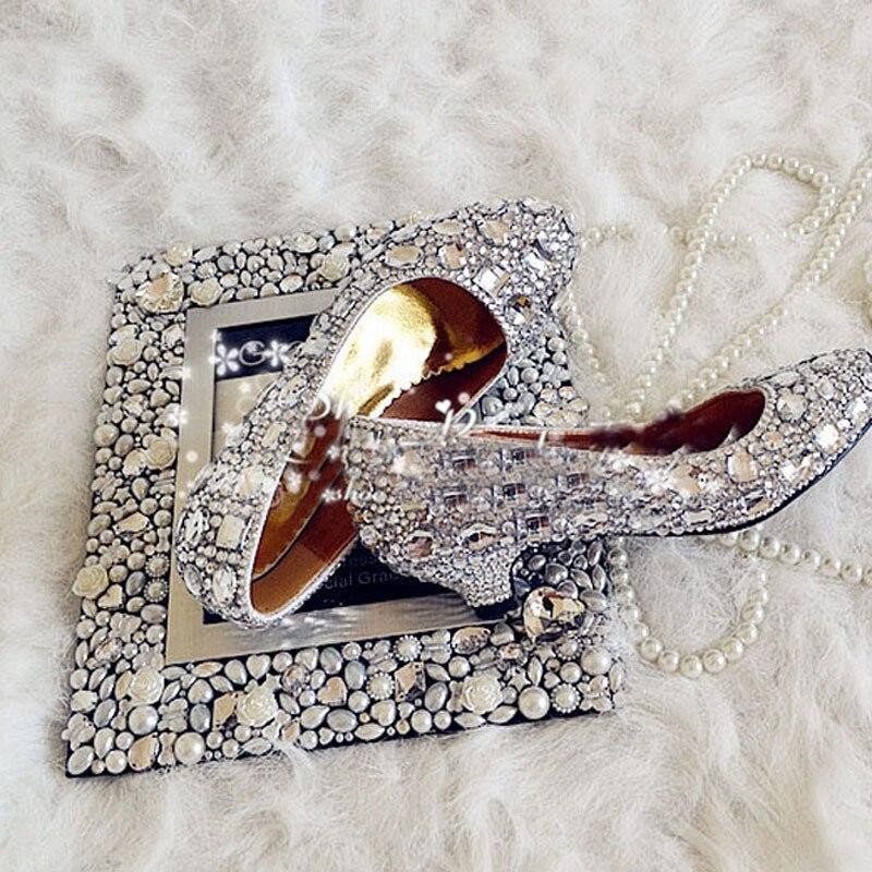 4cm Low Heel Heel Heel Handmade Spring Bridal scarpe Dazzing Diamond Woman   3bef0c