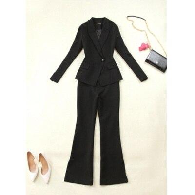 Pak pak vrouwelijke mode Slanke dames Xiaoxiangfeng split hoge kwaliteit bell broek professionele dragen twee stuk blazer set - 5