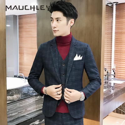 b6f06b2453c14 Prom Suits 3 Pieces Mens Suits With Pants Slim Fit Navy Black Plaid  Checkered 5XL Plus Size Mens Tuxedo One Button 2018 Mauchley-in Suits from  Men s ...