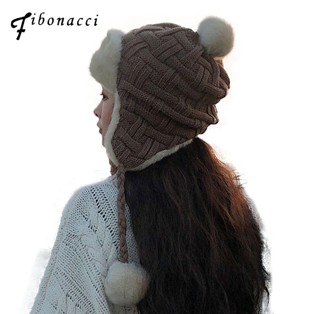 fea161ebb78 Fibonacci Winter Women s Bomber Hat Plaid knitting Hair Ball Pigtail Plush  Windproof Warm Ear Protect Bomber
