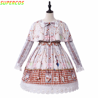 New Arrivals! High Quality Cartoon Cookies Rabbit 3D Artistic Printing Retro Lolita Princess JSK Dress Coat Shawl