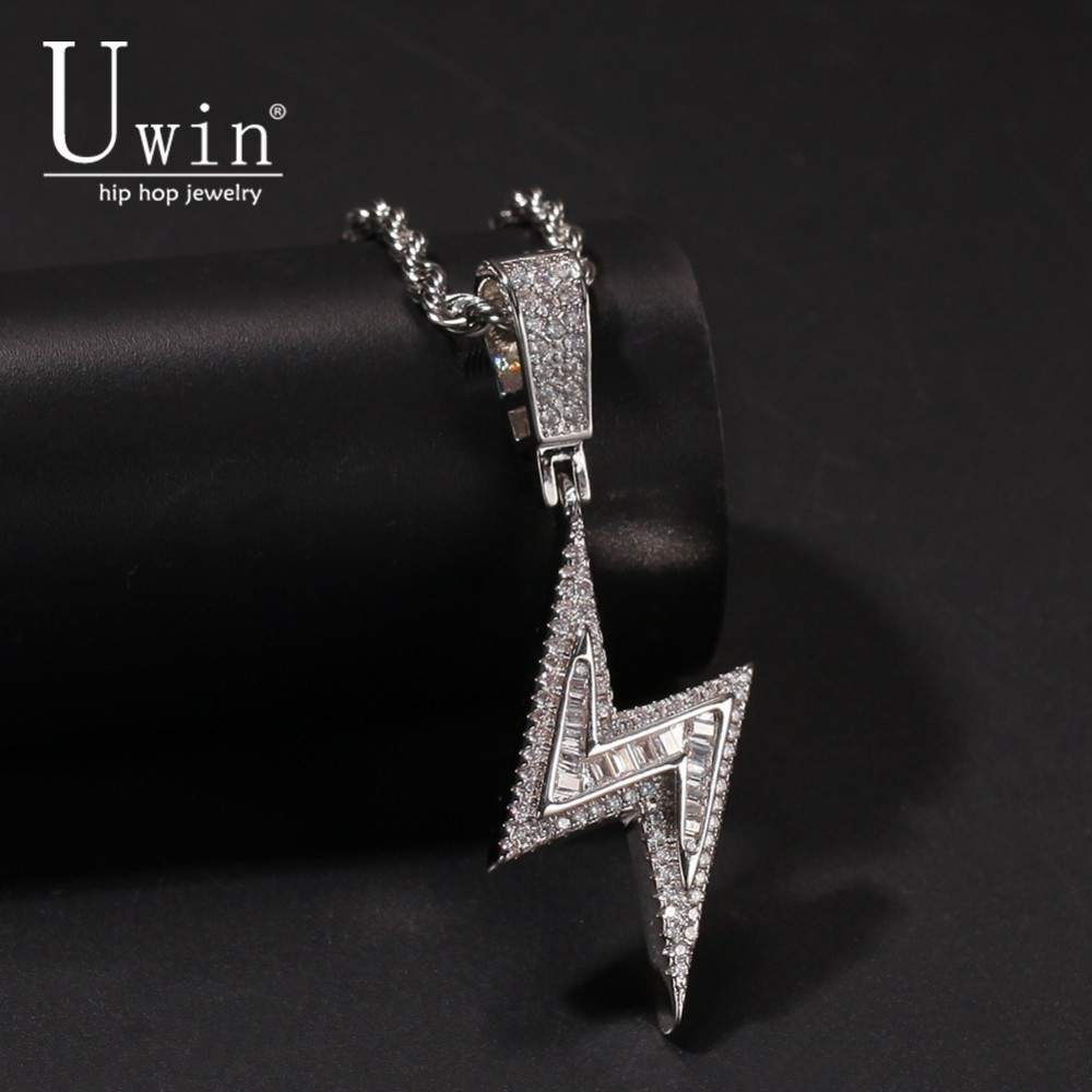 UWIN Lightning Pendant Full Iced Out Bling AAA Cubic Zirconia Copper Necklace Chain Fashion Hiphop Jewelry