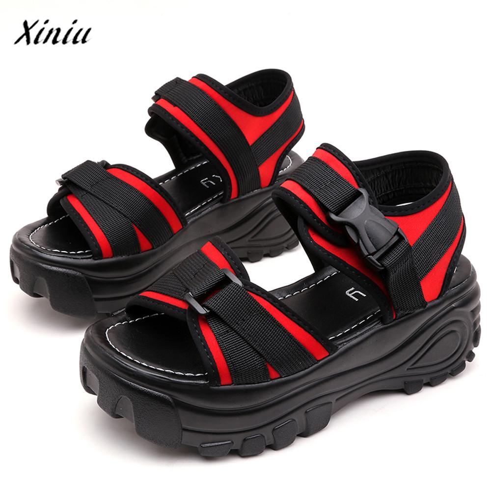 xiniu Women Ladies Pu Suede Retro High Heels Fish Mouth Thick Platform Wedges Loafers sandals Shoes Zapatillas Mujer 1
