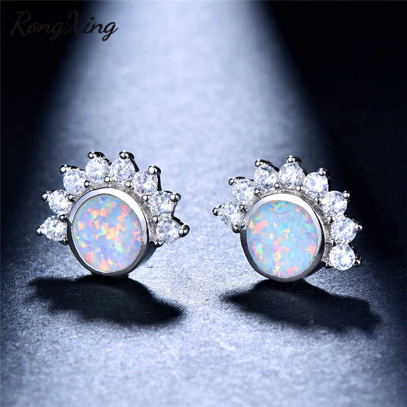 RongXing White/Blue Fire Opal Purple/Hot Pink Birthstone Stud Earrings for Women Retro 925 Silver/Rose Gold Filled Studs Earring