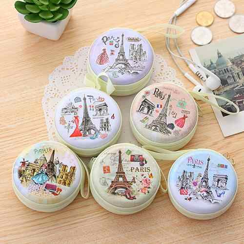 Portable Lovely Round Wallet Cartoon Eiffel Tower Earphone Key Holder Coin Case Bags