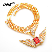 Фотография UNB 2017 Hip Hop Angel Wings with Big Red Stone Pendant Necklace Men Women Iced Out Jewelry Crystal Many Rhinestones Necklaces