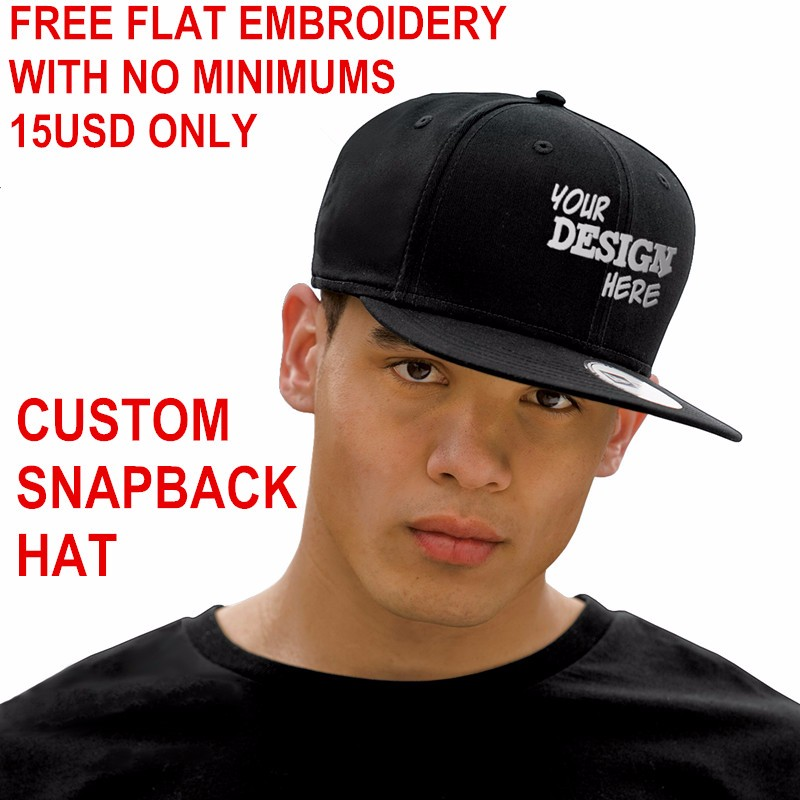 DongKing Custom Snapback Hat Acrylic Baseball Cap Flat Visor Embroidery 6 Panels Hats Adult Kids Personalized Gifts Team Caps