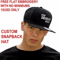 Custom Snapback Hat Acrylic Free Flat Embroidery 6 Panels Snapback Adult Men Women Kids Personalized Gifts