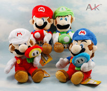 4pcs Super Mario MARIO LUIGI with ice flower Mushroom 17cm Plush Doll Set 2015
