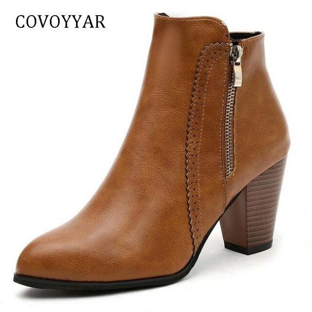 COVOYYAR Sıcak 2019 Retro Kadın Çizmeler Vintage Blok Topuk yarım çizmeler Yan Fermuar Yüksek Topuklu Kadın Ayakkabı Büyük Boy 35- 43 WBS1010