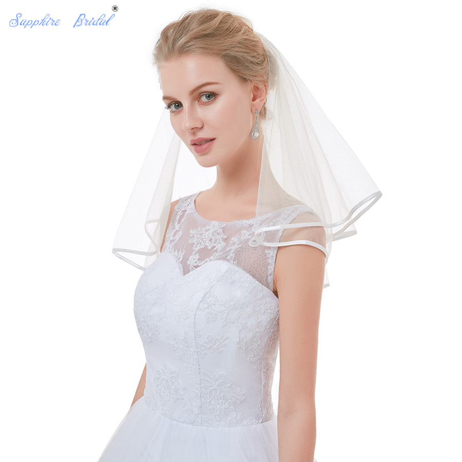 Sapphire Bridal 100% Real Photo In Stock 2 Tiers Bridal Veils Short Cute First Communion Veil For Girls With Comb
