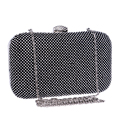 New arrival women evening bags one side rhinestones small day clutches handbags silver/black/gold diamonds metal evening bag