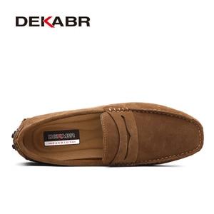 DEKABR Large Size 50 Men Loafers Soft Moccasins High Quality Spring Autumn Genuine Leather Shoes Men Warm Flats Driving Shoes