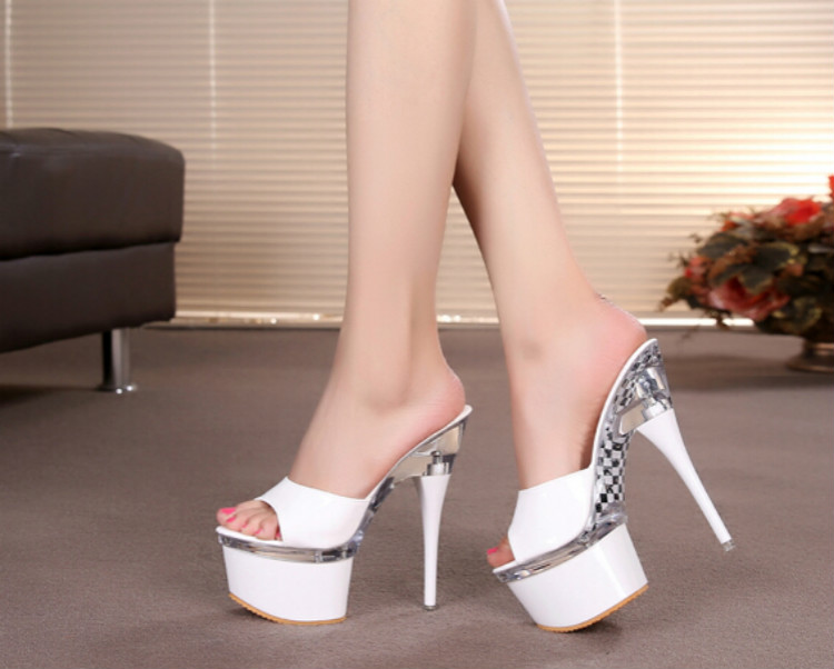 ФОТО Summer 2016 catwalk fine with high with female slippers 16CM sexy high Hentian nightclub fine with transparent crystal sandals