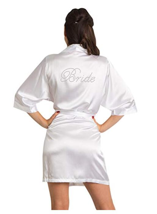 bridesmaid Robe Wedding Bride Women Sleepwear nightwear White Bridal Dress Bathrobe Night dress Sleepwear Nightgown Home Wear(China)