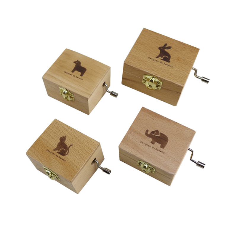 Wooden Animal Music Box Hand Crank Music BoxMechanical Musical Boxes Kid Toys Christmas Birthday Small Gifts Music Boxes
