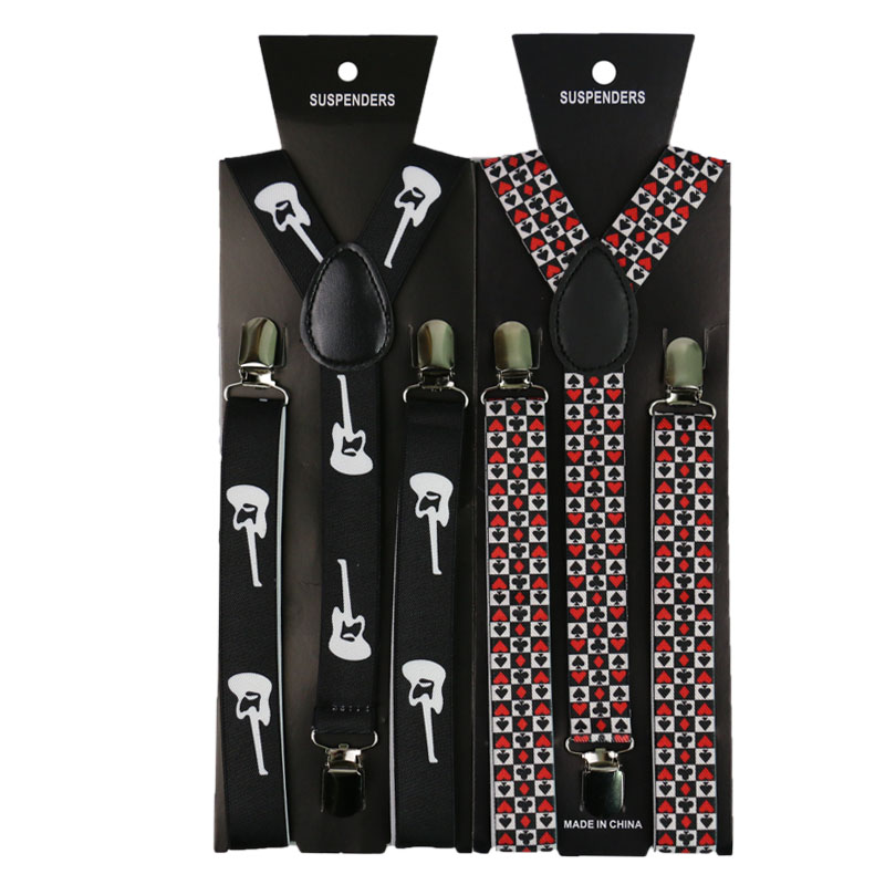 Fashion Guitar Poker Print Suspenders 2.5cm Men Women Unisex Y-back Classic Suspender Braces