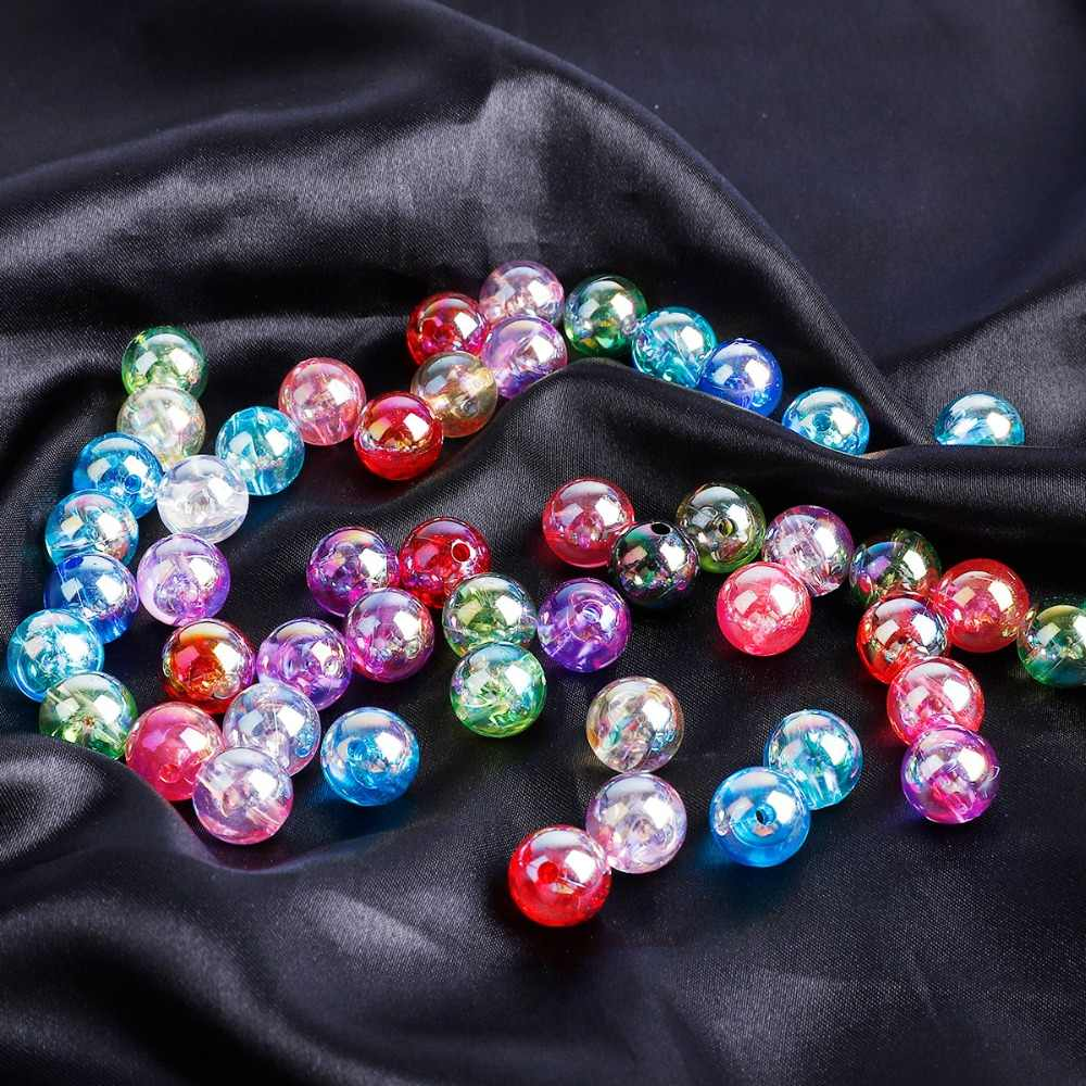 50-100pcs 6/8/10/12mm AB Color Round Acrylic Bead Loose Spacer Beads For Necklace Bracelet DIY Jewelry Findings Making