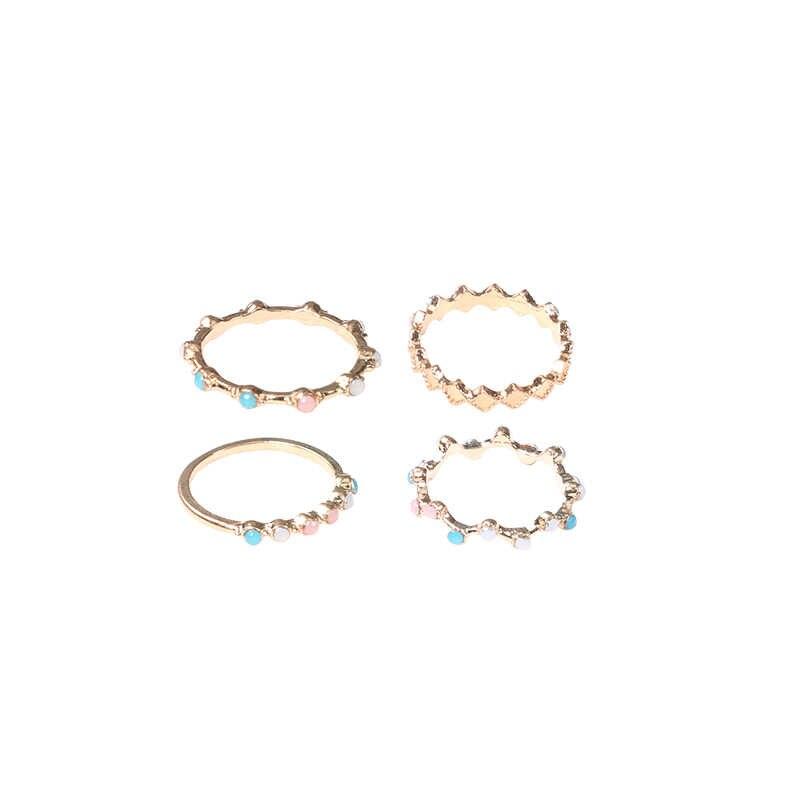 4 sztuk/zestaw moda mała fala kolorowe okrągłe prosta geometryczna kryształowe złoto wykwintne zestaw pierścieni kobiety urok biżuteria prezenty dla kobiet