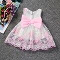 O Vestido Da Menina bebê Infantil Roupas de Casamento Da Princesa Bonito Arco Pequena Festa de Aniversário Vestido de Menina Bebê de 1 Ano Newborn Baptizado