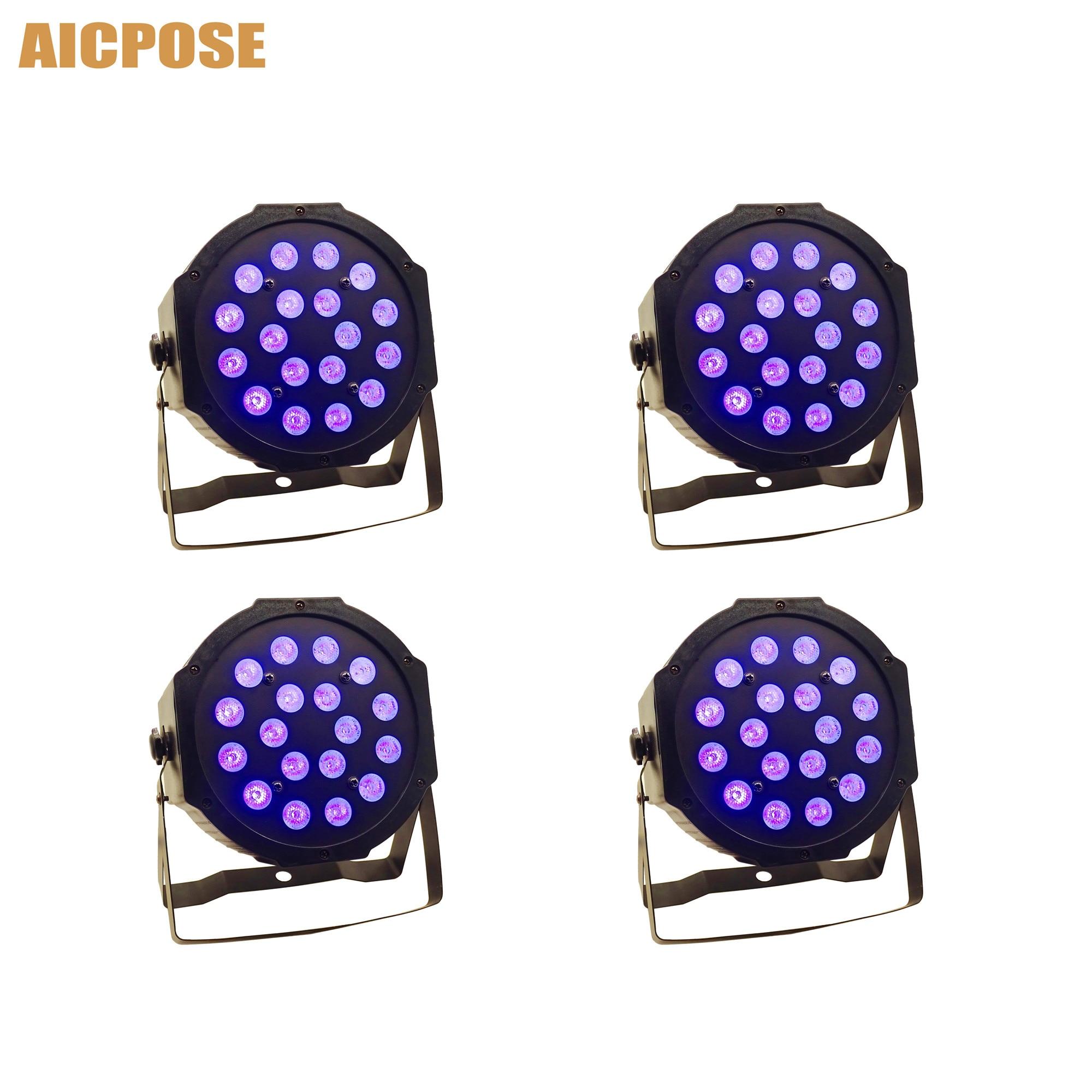 4pcs/lots 3w Led Lamp Beads 18x3w UV LED Par Stage Light Flat Par Led Dmx512 Disco Lights Professional Stage Dj Equipment