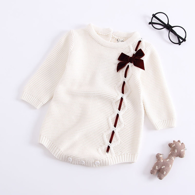 Baby Girl Knitted Long Sleeve Romper