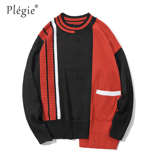 93edd9e96a Plegie Color Block Pockets Pullover Sweaters Men 2018 Winter Harajuku Hip  Hop Fashion Casual Knitted Male Sprited Streetwear