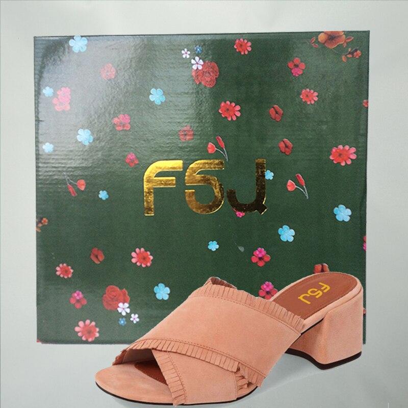 Épais Fsj Frange Sandales Talons Flops Flip Causalité À Fsj01 fsj02 Hauts Chaussures D'été Femme 16 Diapositives Mules Loisirs Brun Pantoufles Plus Sexy 2018 UIx4w
