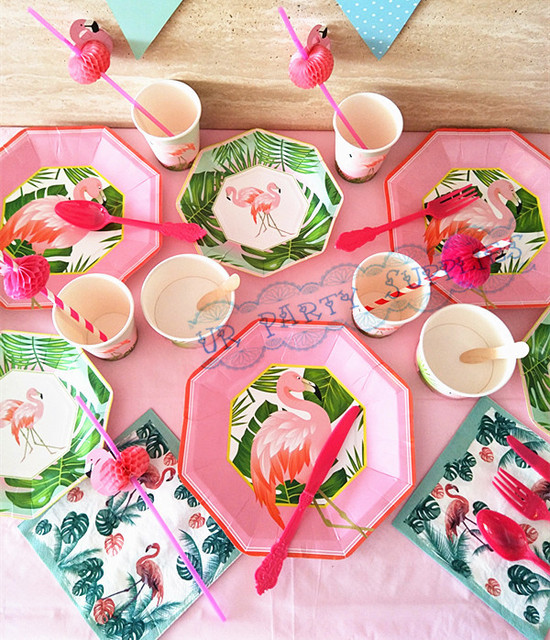 24 sets Flamingo Tableware Paper Plates Cups Napkins Straws Fiesta Tropical Birthday Wedding Decoration Baby Shower  sc 1 st  AliExpress.com & 24 sets Flamingo Tableware Paper Plates Cups Napkins Straws Fiesta ...