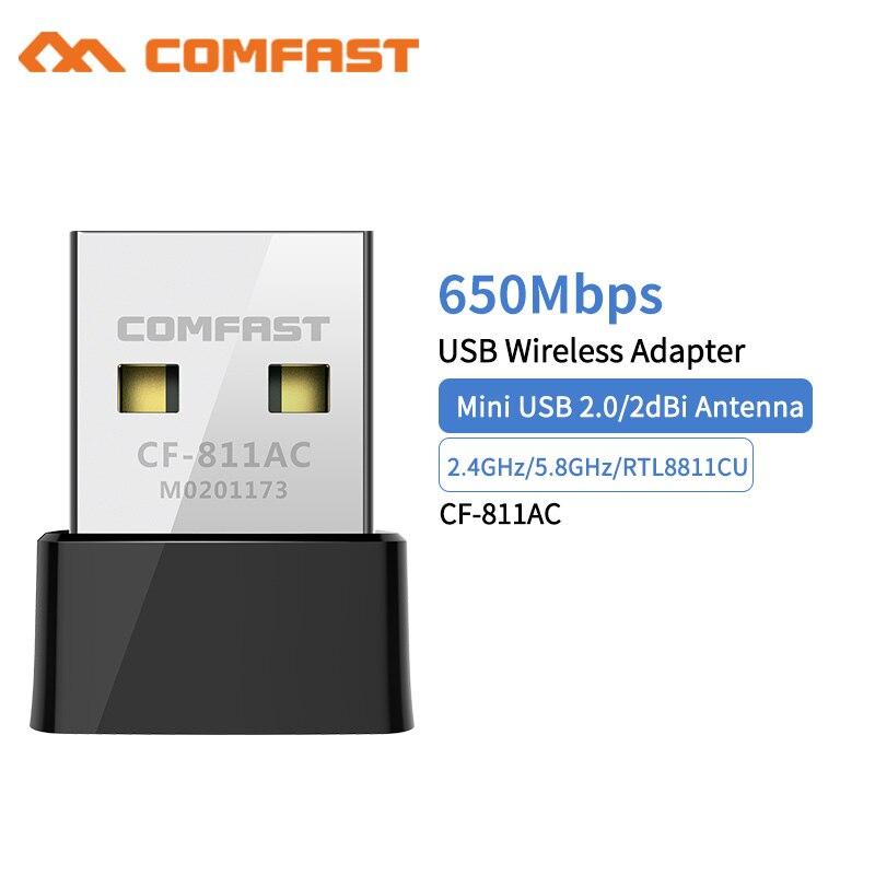 Comfast CF-811AC 650Mbps sans fil USB Wifi adaptateur récepteur 2.4 + 5 Ghz USB Wifi 802.11n/g/b/ac carte réseau pour PC Wi-fi Dongle