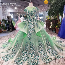 LSS126 green evening dresses long o-neck cap sleeves lace up open back girls pageant dresses with long train ruffle style 2019(China)