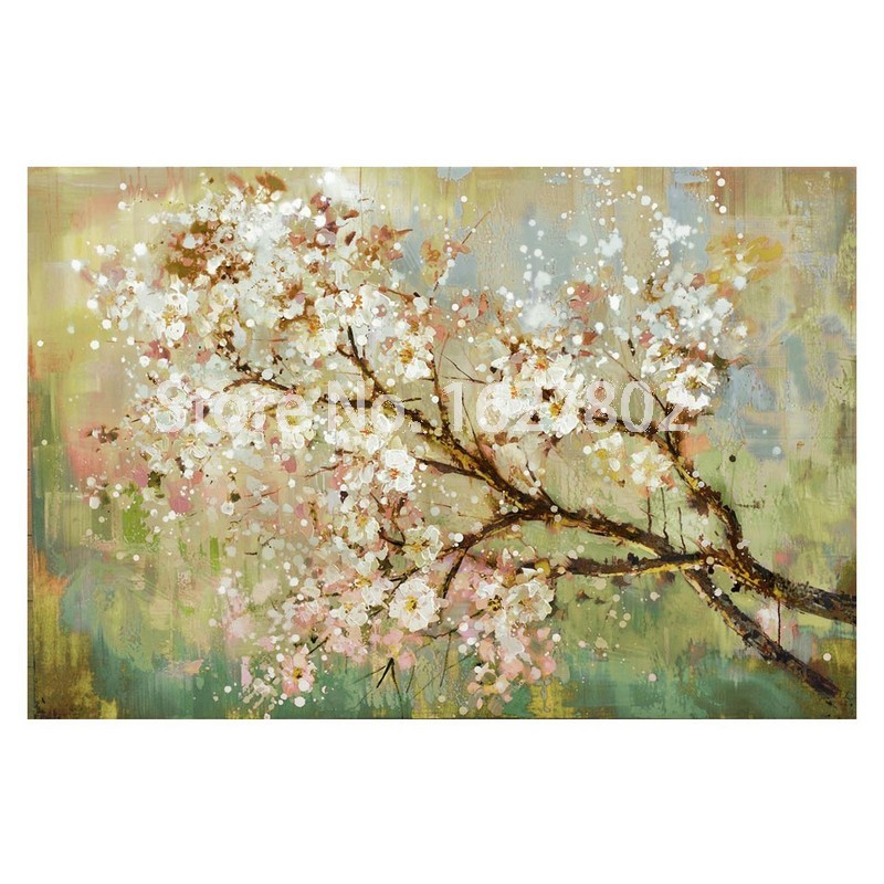 Hand painted modern beautiful flower on the tree oil - Oil painting ideas for living room ...