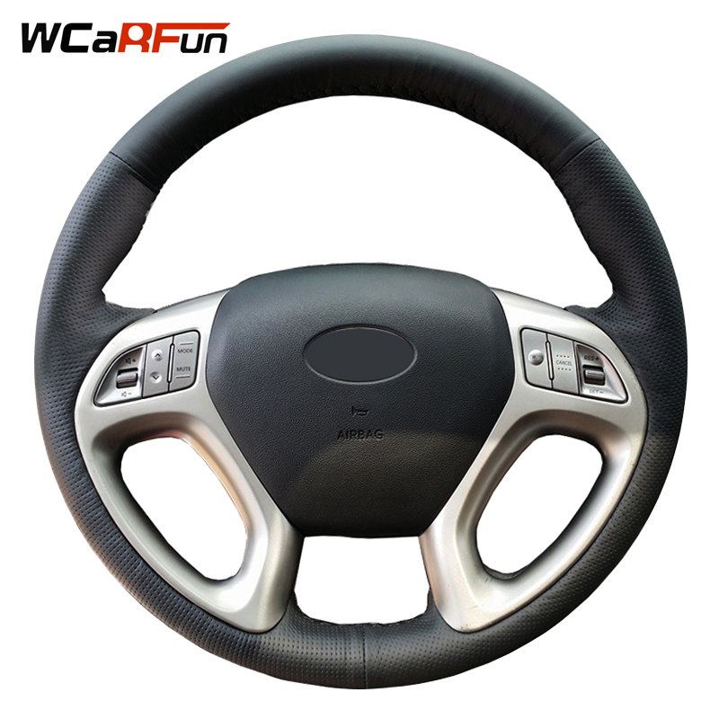 WCaRFun Black Artificial Leather Hand-stitched Car Steering Wheel Cover For Steering-Wheel for Hyundai ix35 Tucson 2011-2015