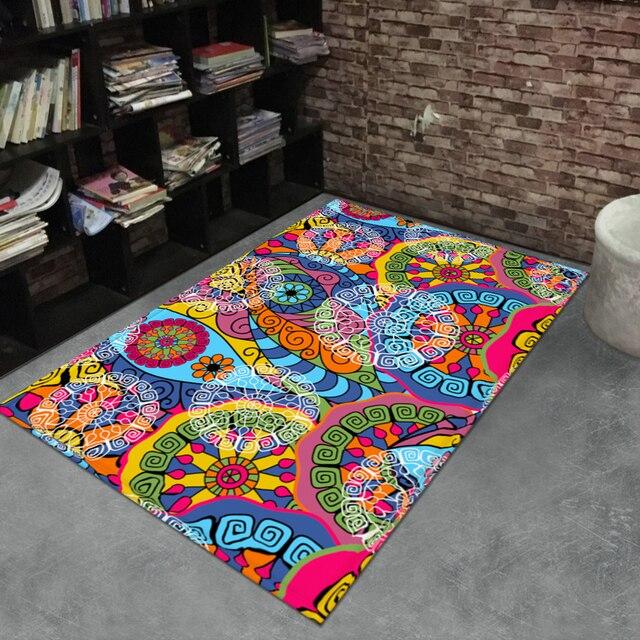 Liu Retro Bunga Bergaris Karpet Vantage Di Ruang Tamu Lorong R Tidur Samping Tempat