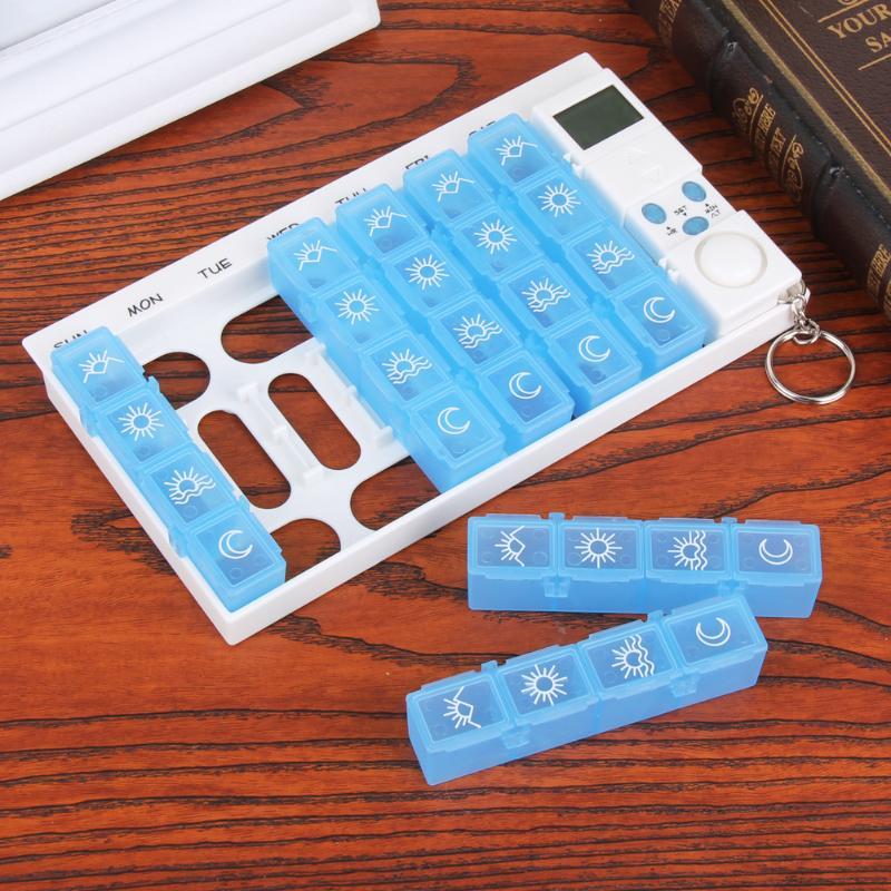 28 Slots Hebdomadaire 7 Jours Alarmes Portable Boîte À Pilules En Plastique Coloré Porte-Pill Cas Avec Rappel Minuterie