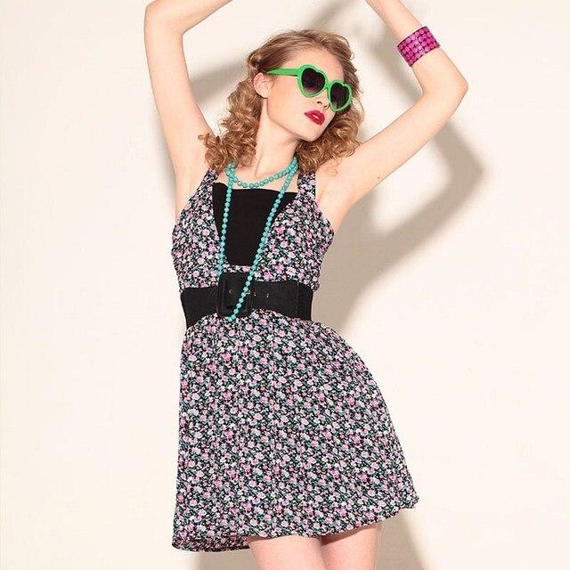 2013 New VANCL Women Mini Dress Comfortable Stylish Cotton Floral Mini Dress Shoulder Straps Flower Print Black FREE SHIPPING