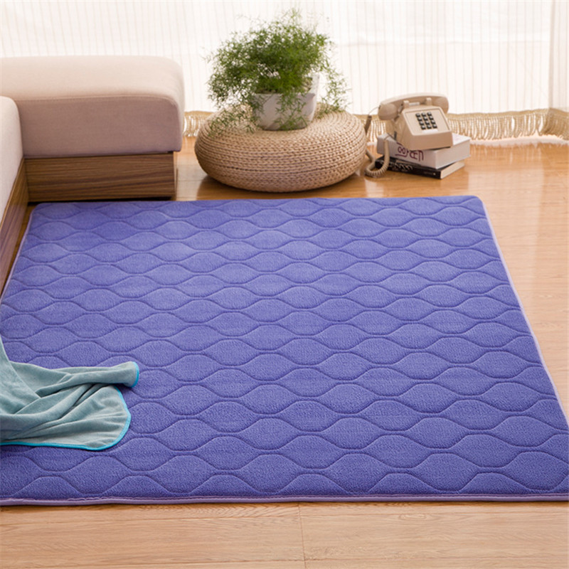 Classic Solid Carpet Memory Foam Big Rug Grid Mat Hallway Area rug Bedroom Rugs Purple Mats Quilted Carpet Rug for Living Room