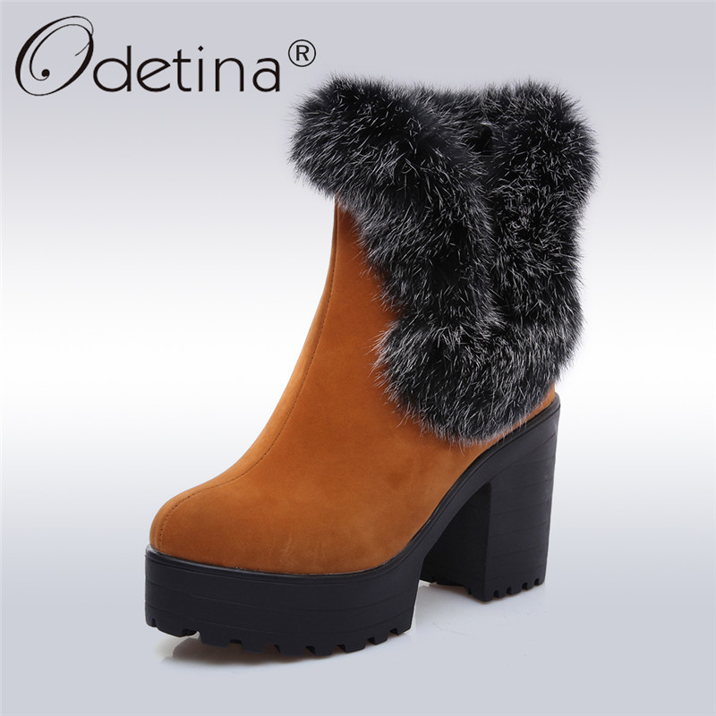 Odetina 2017 Fashion Women Snow Fur Ankle Boots Thick High Heel Platform Booties Slip On Ladies Winter Warm Shoes Big Size 46 strange heel women ankle boots genuine leather elastic booties wedge shoes woman high heels slip on women platform pumps