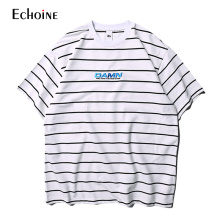 2019 Summer New Men T-shirt Striped Print Letter Hip Hop Tee Top Short Sleeve Loose Casual Cotton Tops Tees Streetwear