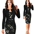 Autumn Winter Long Sleeve Vintage Print Women's Office Dresses Sexy Sheath Bodycon Pencil Dress for Work Business OL Ladies 3XL