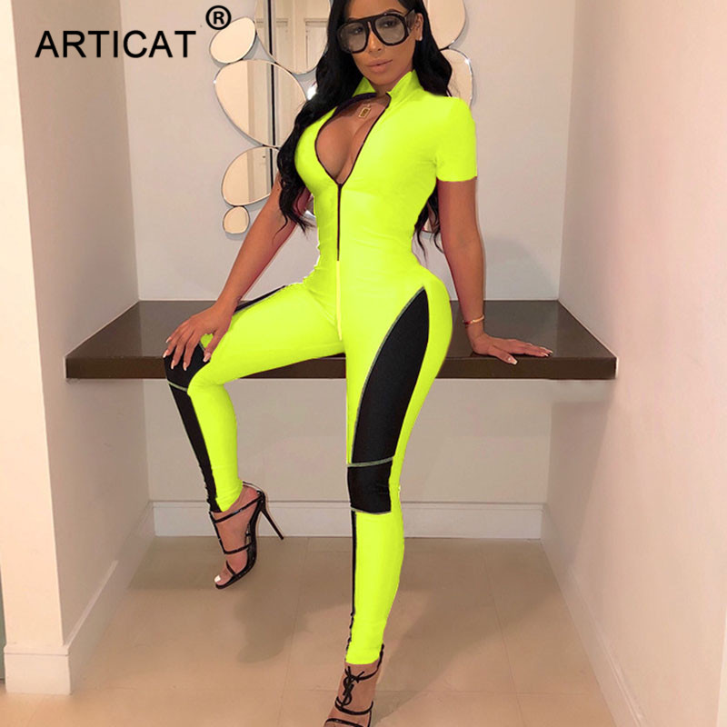 Articat Zipper Bodycon Sexy   Jumpsuit   Women Short Sleeve Fitness Rompers Womens   Jumpsuit   Summer Streetwear Slim Playsuit Overalls