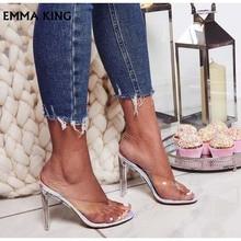 2019New летние пикантные силиконовые стельки для защиты от натирания ног сандалии для женщин открытый носок ПВХ каблучки необычный стиль каблучки Sandalias mujer модельные туфл