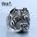 Beier new store 316L Stainless Steel ring top quality Pit Bull Bulldog Dog Rings Men Personality  Animal Jewelry BR8-181