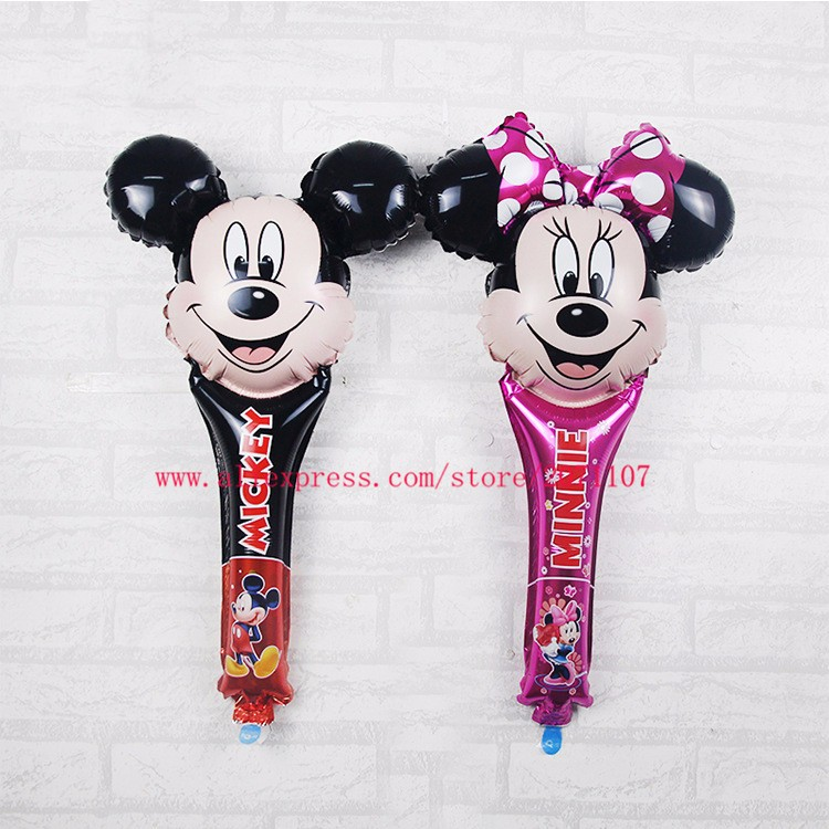 Lucky 200pcs lot Mickey Minnie Mouse Cheering Sticks Balloon Foil Balloons For Birthday Party Decoration Globos