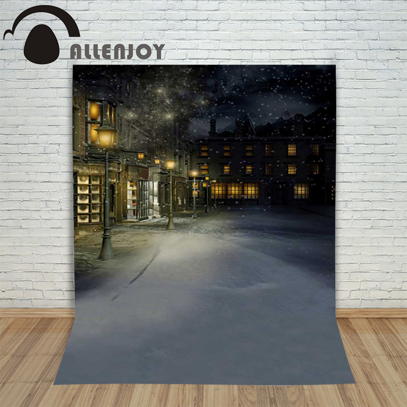 Background photography studio Christmas Street snowflakes in winter blur background for photo shoots vinyl studio new year christmas photographic background snow snow in winter new year photo vinyl cloth year of the rooster