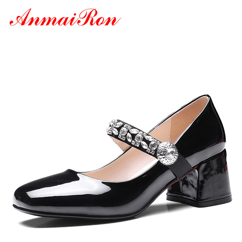 ФОТО ANMAIRON Square Toe High Heels Shoes Woman Chunky Heels Crystal Sexy Rhinestone Red Shoes Women Lovely Wedding Summer Pumps