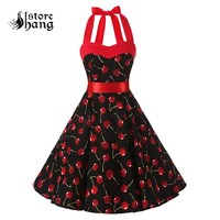 Vintage 1950s Rockabilly Polka Dots Audrey Dress Women's Halter Neck Lace Up Back Floral Cherry Full Swing Retro Party Dress