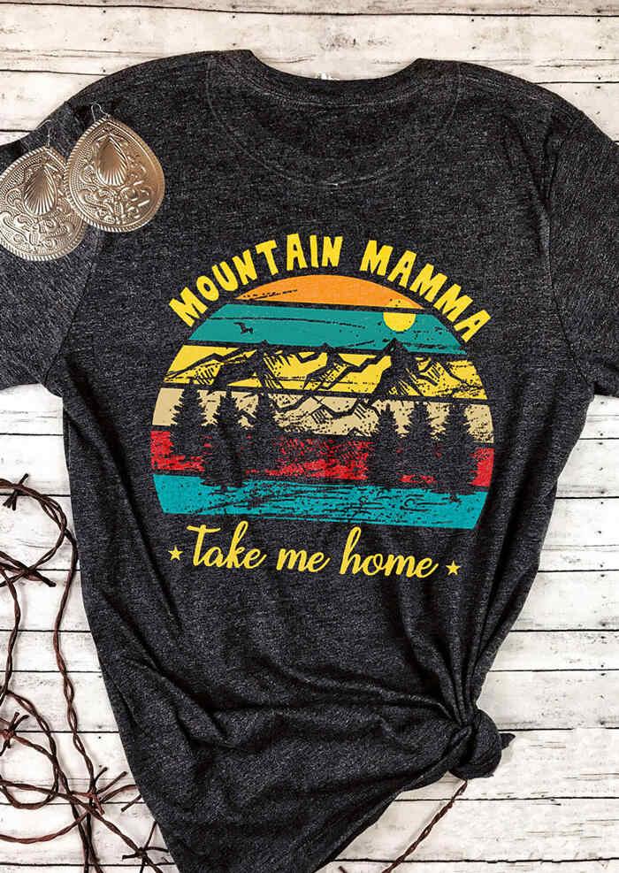 النساء الجبلية ماما يأخذني المنزل تي شيرت المحملة رمادي داكن المتناثرة Ulzzang Kawaii زائد حجم نعرفكم الأعلى الكورية 90s الأصدقاء الملابس