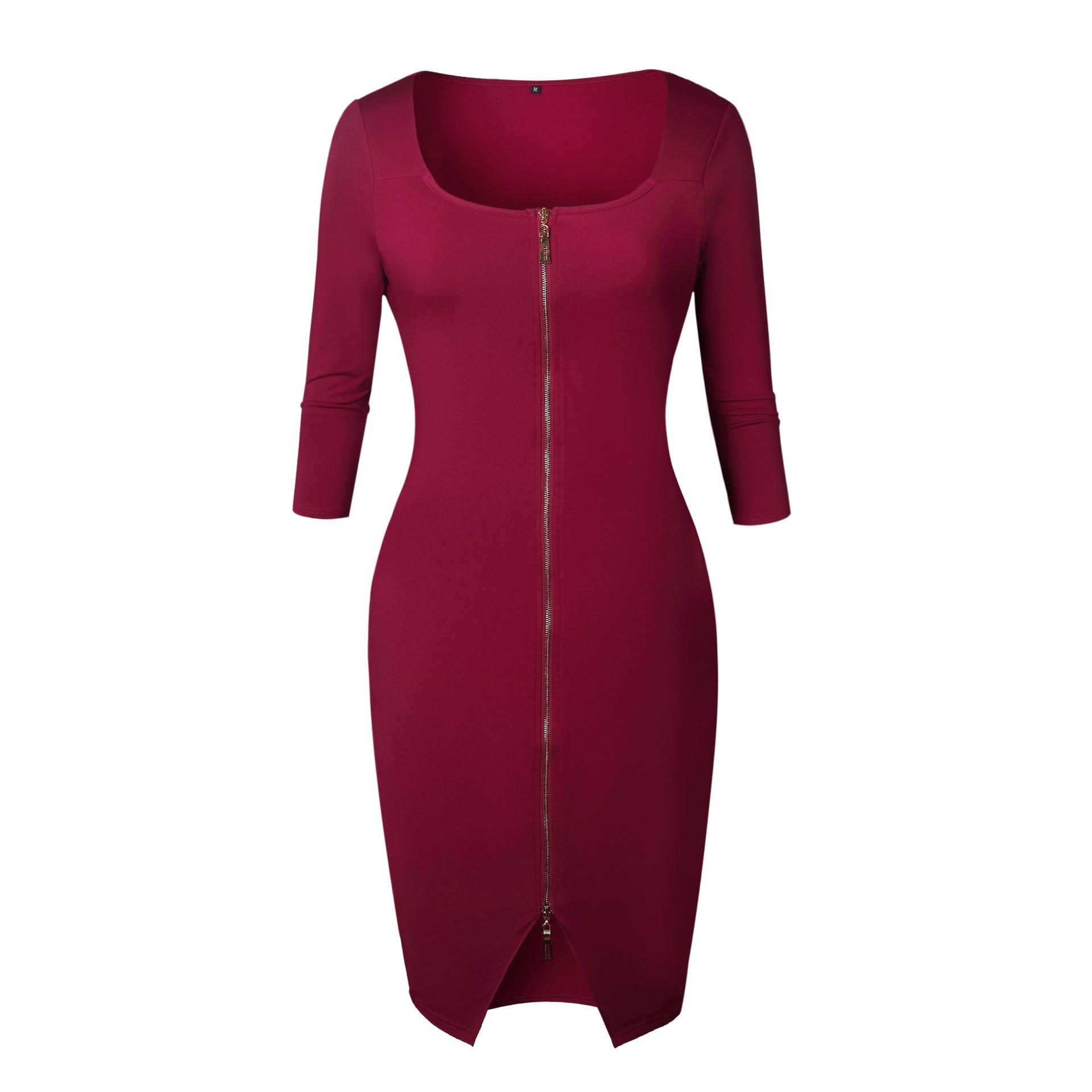 Women Sexy Club Low Cut Bodycon Dress Red Velvet Sheath 2018 Casual Autumn Winter Zipper Fashion
